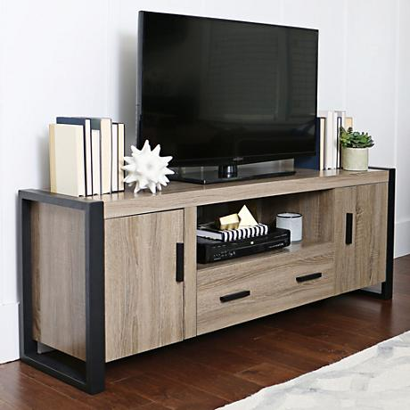 Urban Blend Driftwood 2-Drawer TV Stand Console