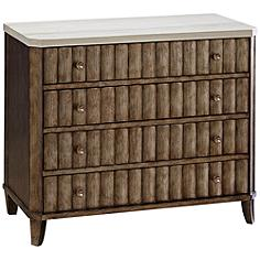 California Champagne 4-Drawer Accent Chest with Stone Top
