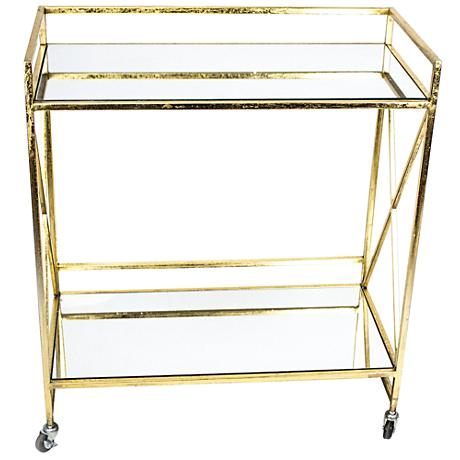 Stanya Gold Metal 2-Shelf Bar Cart with Mirror