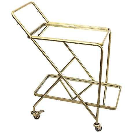 Vera Gold Iron and Mirrored 2-Shelf Rolling Serving Cart