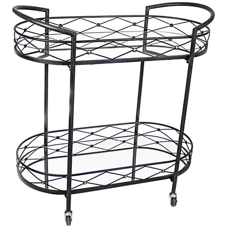 Zella Black Metal Bar Cart with Mirror