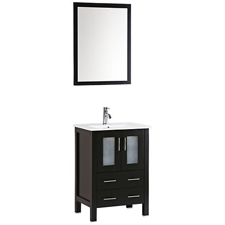 "Bosconi 24"" Espresso Integrated Single-Sink Vanity Set"