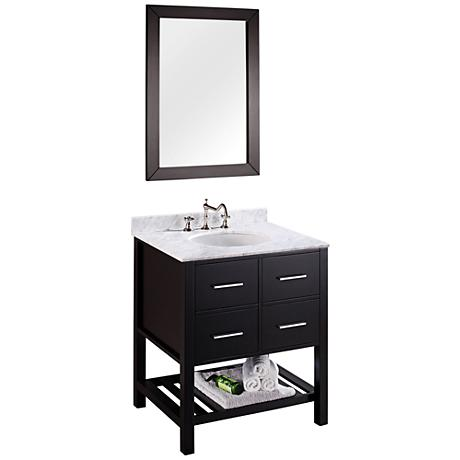 "Bosconi 30"" Black Single-Sink Vanity Set with Mirror"