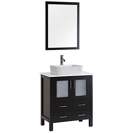 "Bosconi 30"" Espresso Rectangular Vessel Sink Vanity Set"