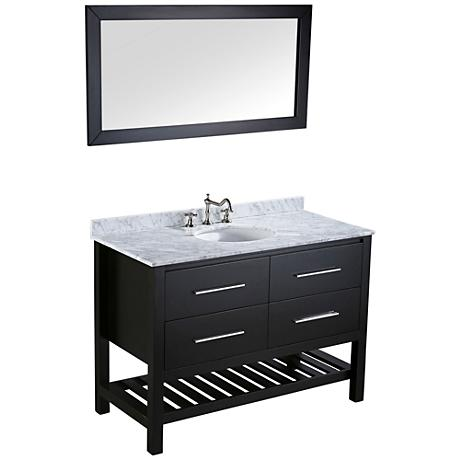Bosconi Black 2-Drawer Single-Sink Vanity Set with Mirror