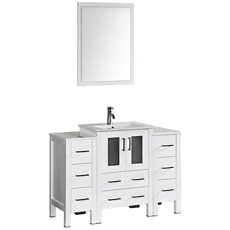 "Bosconi 48"" White Integrated Single-Sink Vanity Set"