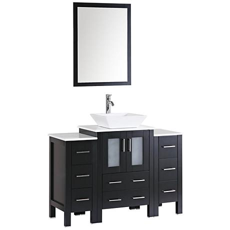 "Bosconi 48"" Espresso Square Vessel Single-Sink Vanity Set"
