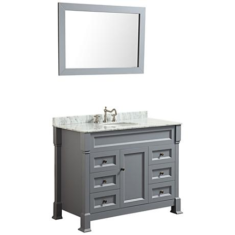 Bosconi Slate Gray 6-Drawer Marble Single-Sink Vanity Set