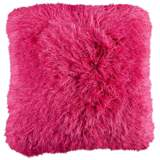 "Dallas Fuchsia Pink 20"" Square Decorative Shag Pillow"