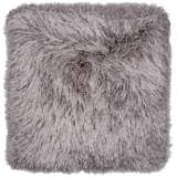 "Dallas Gray 20"" Square Decorative Shag Pillow"