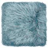 "Dallas Gray-Turquoise 20"" Square Decorative Shag Pillow"