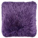 "Dallas Purple 20"" Square Decorative Shag Pillow"
