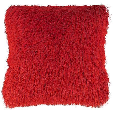 "Dallas Red 20"" Square Decorative Shag Pillow"