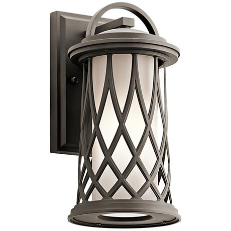 "Kichler Pebble Lane 12 3/4""H Bronze Outdoor Wall Light"