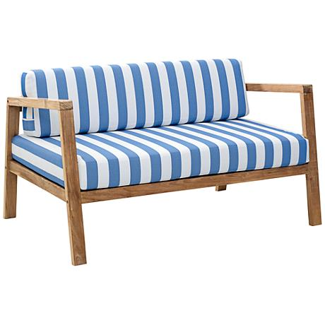 Zuo Bilander Outdoor Blue/White Natural Teak Sofa