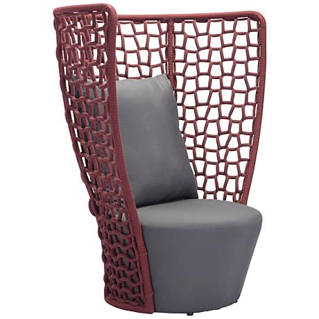 Zuo Faye Bay Beach Cranberry and Gray Outdoor Accent Chair
