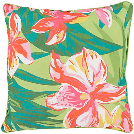 "Surya Ulani Large Flowers 16"" Square Decorative Pillow"