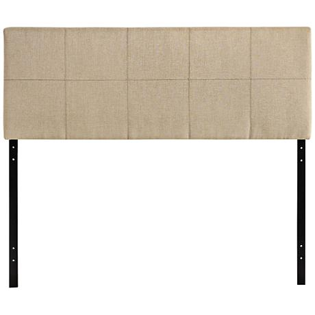 Oliver Beige 10-Square Stitched Full Fabric Headboard