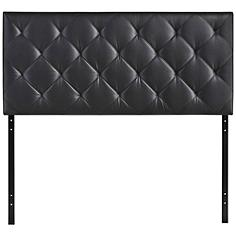 Theodore Black Faux Leather Tufted Full Fabric Headboard