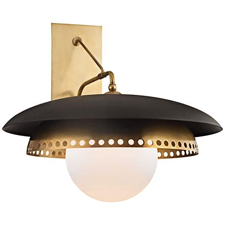 "Herkimer 17""H Aged Brass with Black Wall Sconce"