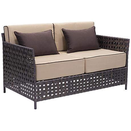Zuo Pinery Brown and Beige Outdoor Sofa