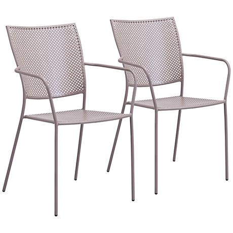 Zuo Pom Taupe Outdoor Dining Chair Set of 2