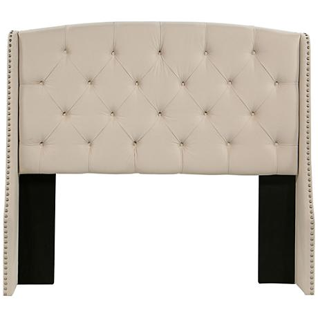 Peyton Tufted Ivory Fabric Wing Headboard