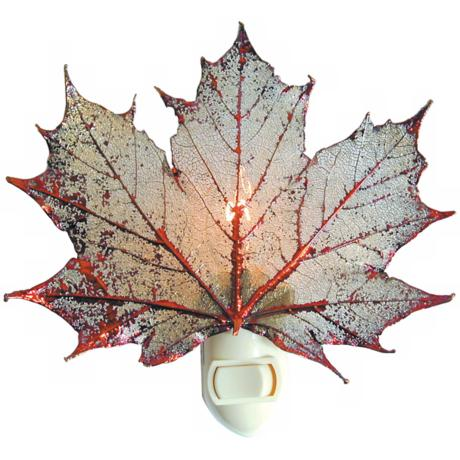 Antique Copper Real Leaf Sugar Maple Night Light