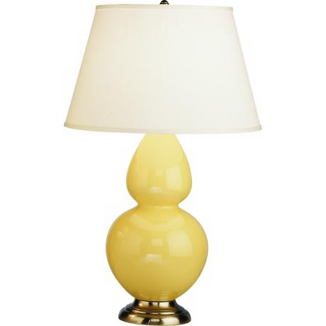 "Robert Abbey 31"" Yellow Ceramic and Silver Table Lamp"
