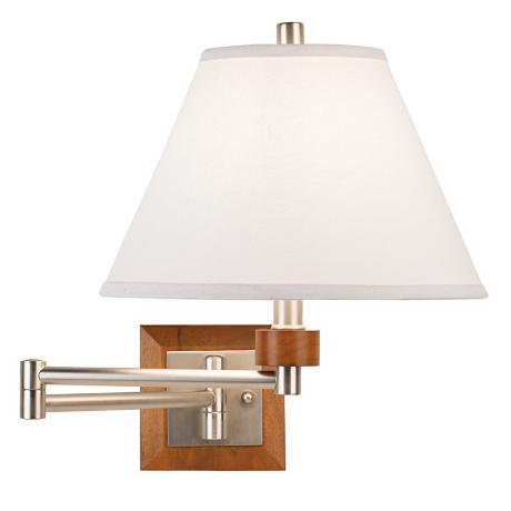 Dark Wood Plug-In Swing Arm Wall Lamp