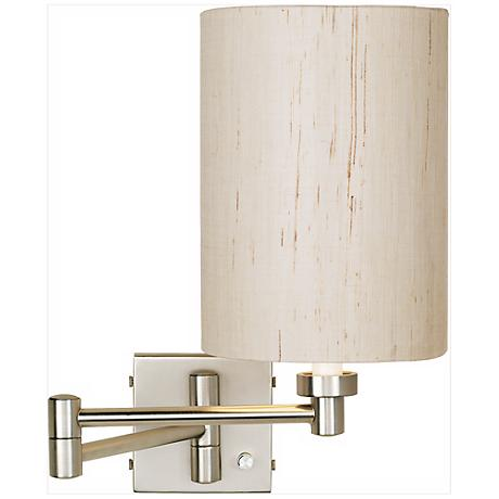 Brushed Steel Ivory Cylinder Shade Plug-In Swing Arm Wall Lamp