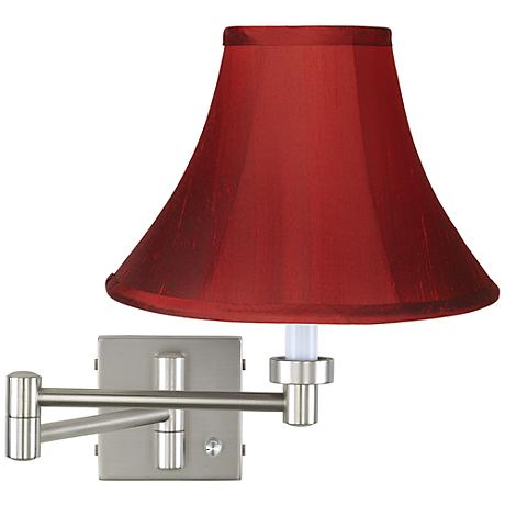 Brushed Steel and Red Silk Shade Plug-In Swing Arm Wall Lamp