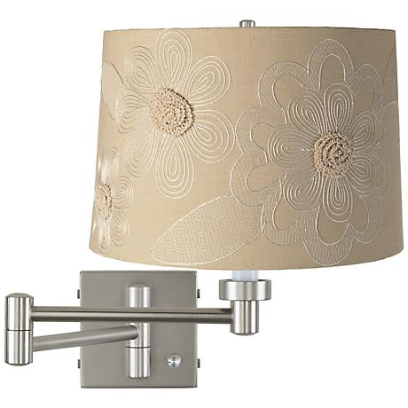 Tan Flower - Brushed Steel Plug-In Swing Arm Wall Lamp