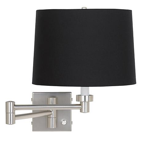 Black Drum Shade Plug-In Style Swing Arm