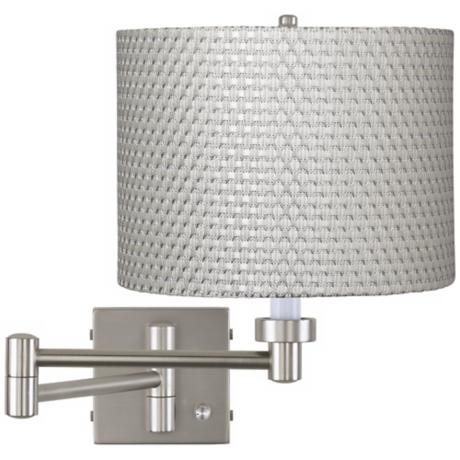 White and Silver Weave Brushed Steel Swing Arm Wall Lamp