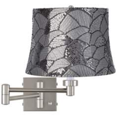 Gray Sequins Brushed Steel Swing Arm Wall Lamp
