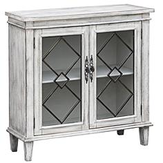 Lindsey White Wash Wood Breakfront Textured 2-Door Sideboard