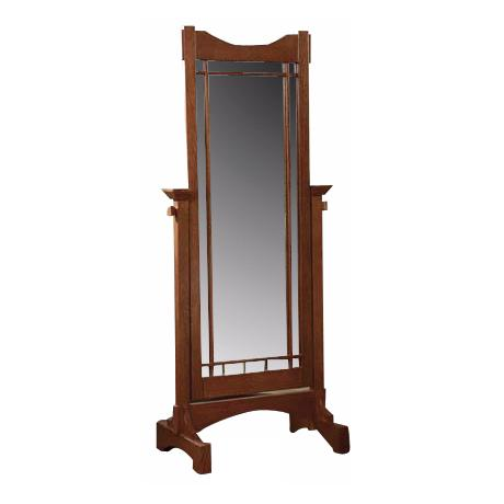 "Mission Oak Cheval Style 60"" High Floor Mirror"