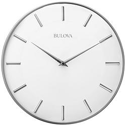 "Bulova Metro II Satin Pewter Metal 16"" Round Wall Clock"