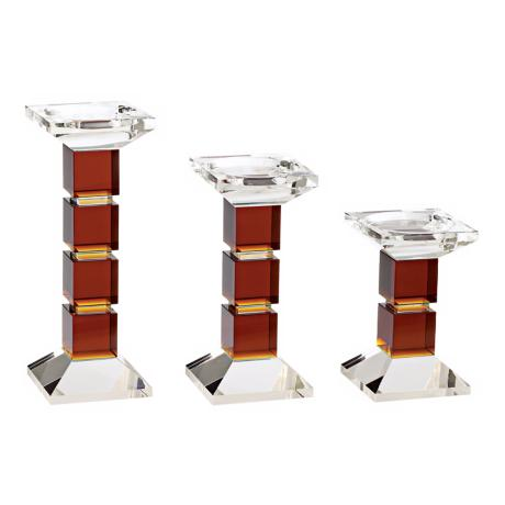 Crystal and Amber Candle Holder Set
