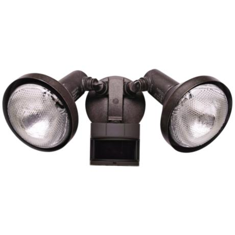 Two Light  Rustic Brown Outdoor Spotlight with Motion Sensor