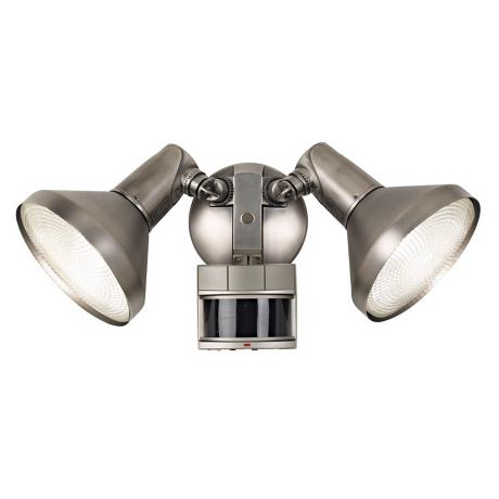 Two Light Brushed Nickel Finish Spotlight Motion Sensor