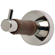 Zanzibar Collection Polished Chrome Leather Bath Hook