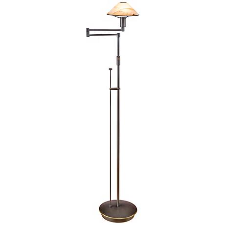 Old Bronze with Brown Alabaster Glass Holtkoetter Floor Lamp