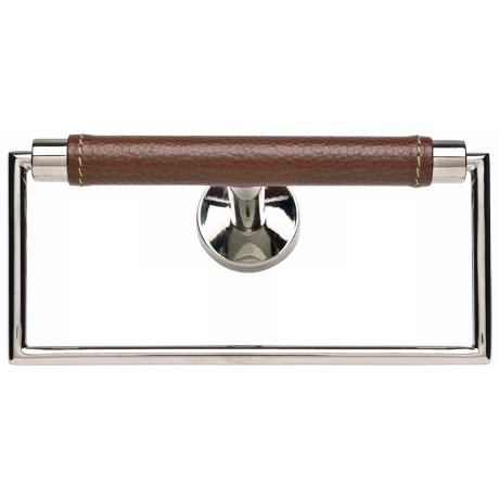 "Zanzibar Collection Chrome and Saddle Leather 6"" Towel Ring"