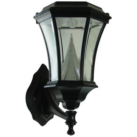 "Black Solar Lamp 15"" High Outdoor Wall Light"