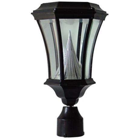 Black Post Mount Outdoor Solar LED Lamp