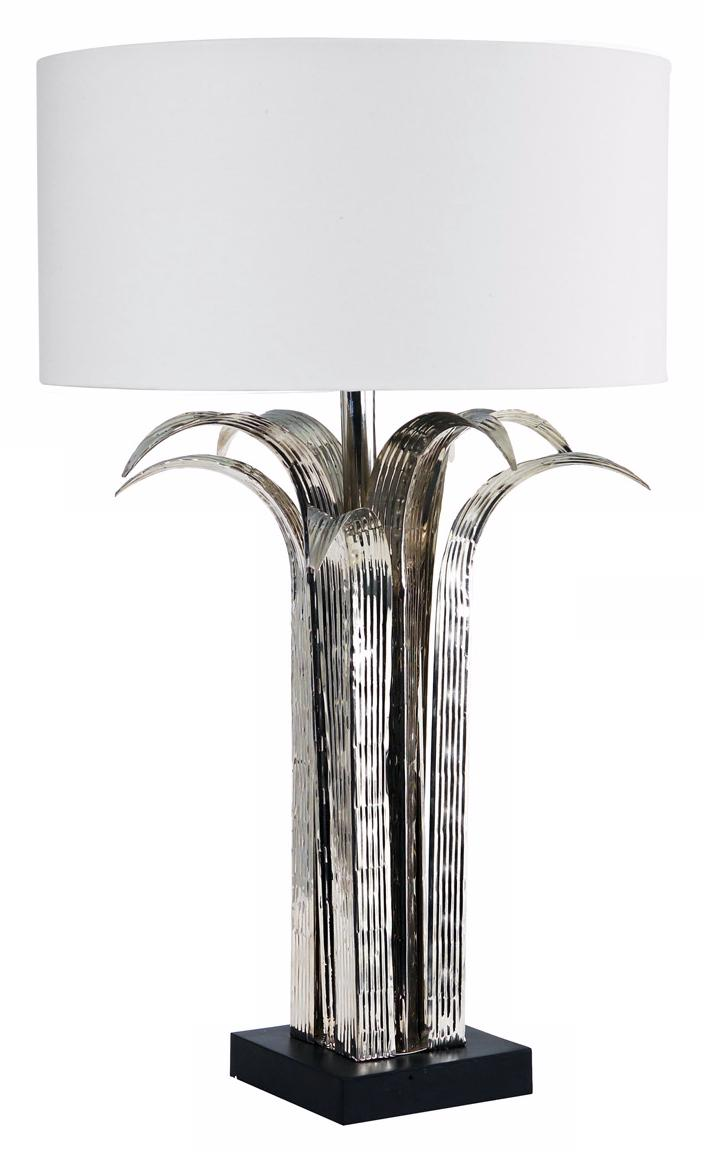Larry Laslo Flora Shiny Nickel Leaf Table Lamp (23157)
