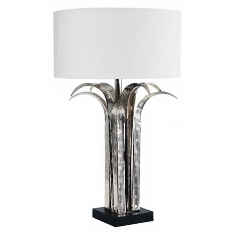 Larry Laslo Flora Shiny Nickel Leaf Table Lamp