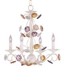 Crystorama Multi-color Rosettes Antique White Chandelier
